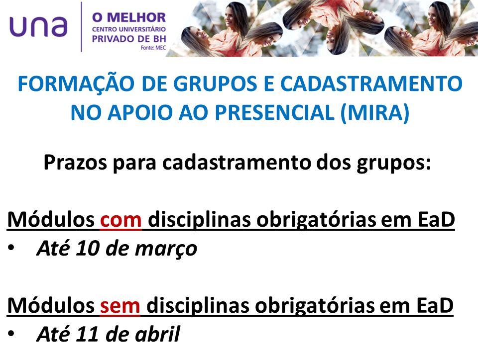 FORMAÇÃO DE GRUPOS E CADASTRAMENTO NO APOIO AO PRESENCIAL (MIRA)