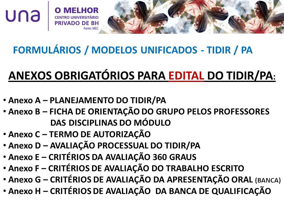 ANEXOS OBRIGATÓRIOS PARA EDITAL DO TIDIR/PA: