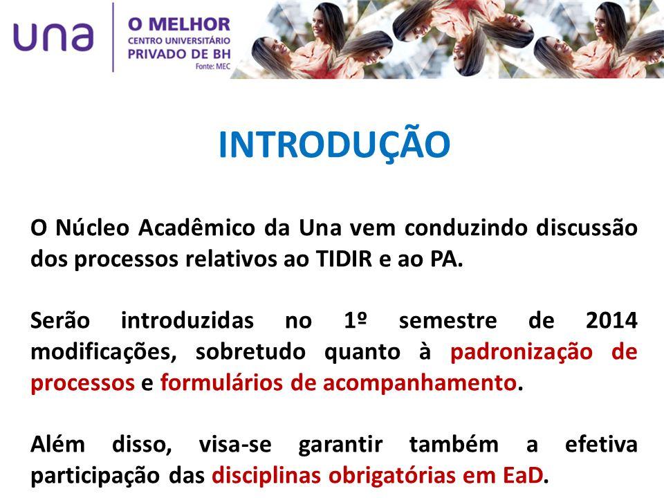 INTRODUÇÃO O Núcleo Acadêmico da Una vem conduzindo discussão dos processos relativos ao TIDIR e ao PA.