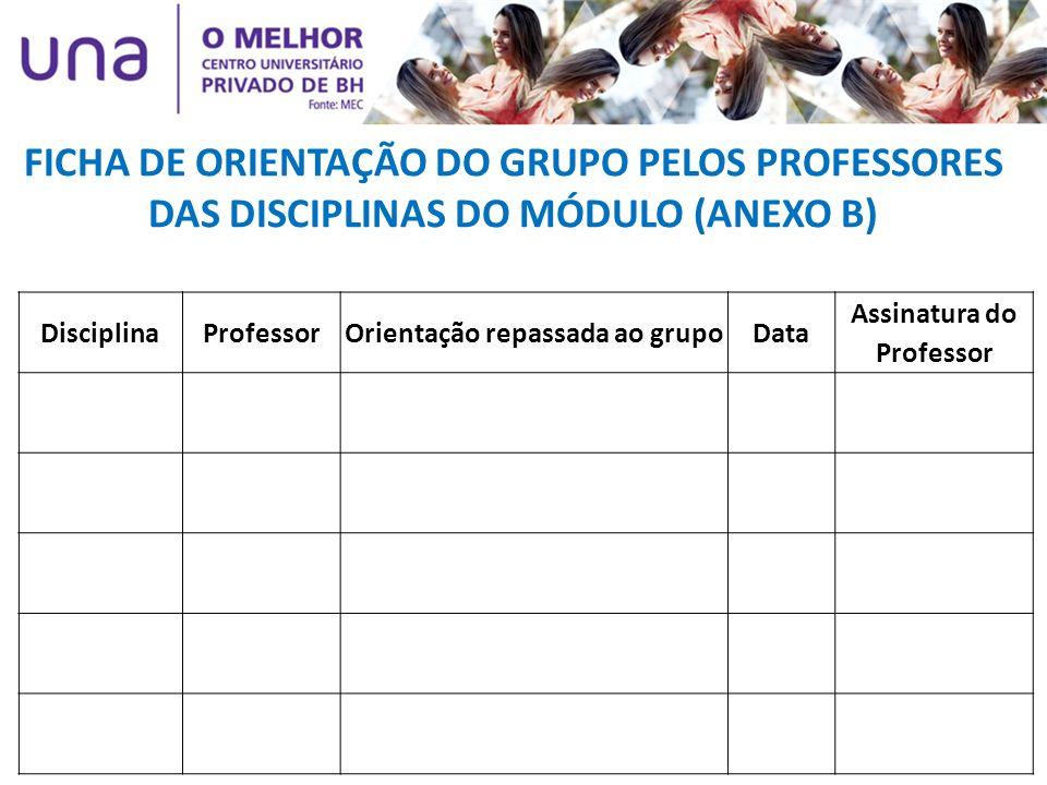 Orientação repassada ao grupo Assinatura do Professor
