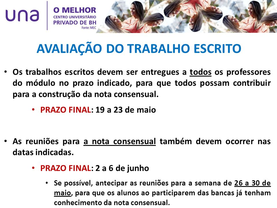 AVALIAÇÃO DO TRABALHO ESCRITO