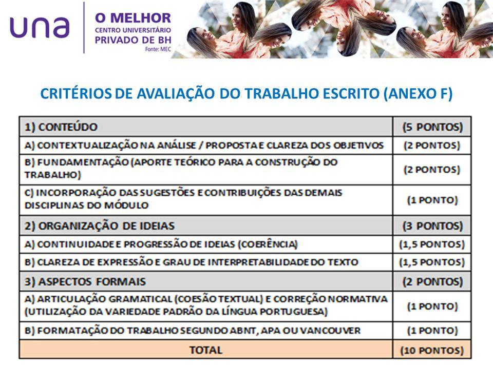 CRITÉRIOS DE AVALIAÇÃO DO TRABALHO ESCRITO (ANEXO F)