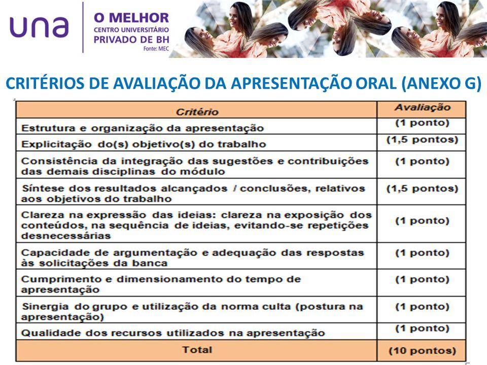 CRITÉRIOS DE AVALIAÇÃO DA APRESENTAÇÃO ORAL (ANEXO G)