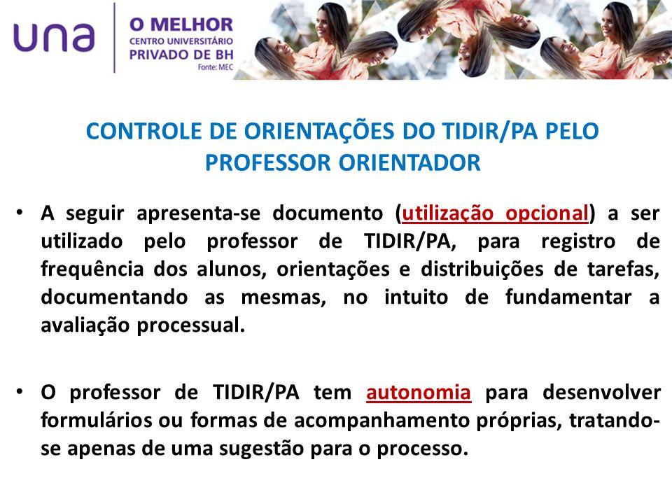 CONTROLE DE ORIENTAÇÕES DO TIDIR/PA PELO PROFESSOR ORIENTADOR