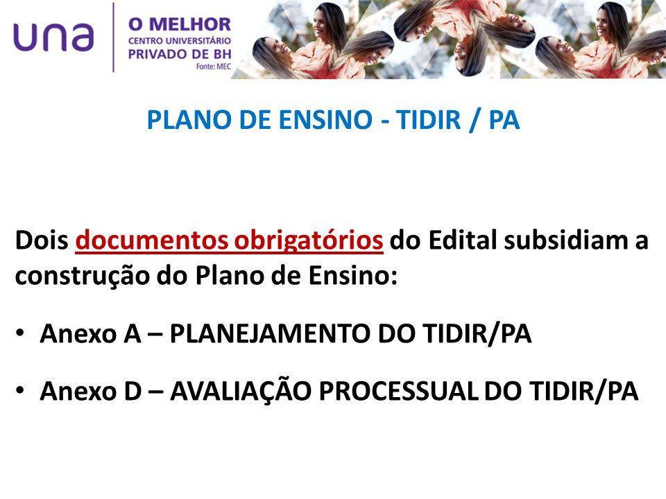 PLANO DE ENSINO - TIDIR / PA