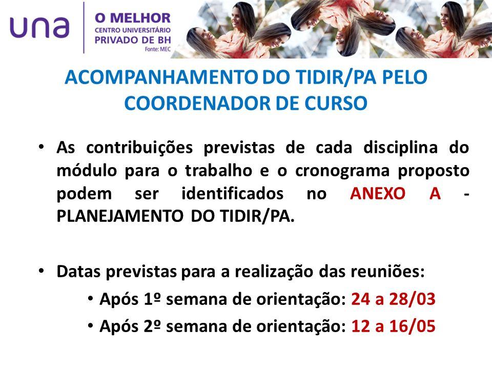 ACOMPANHAMENTO DO TIDIR/PA PELO COORDENADOR DE CURSO