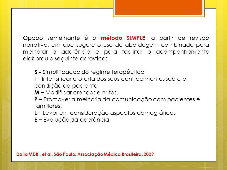 S - Simplificação do regime terapêutico