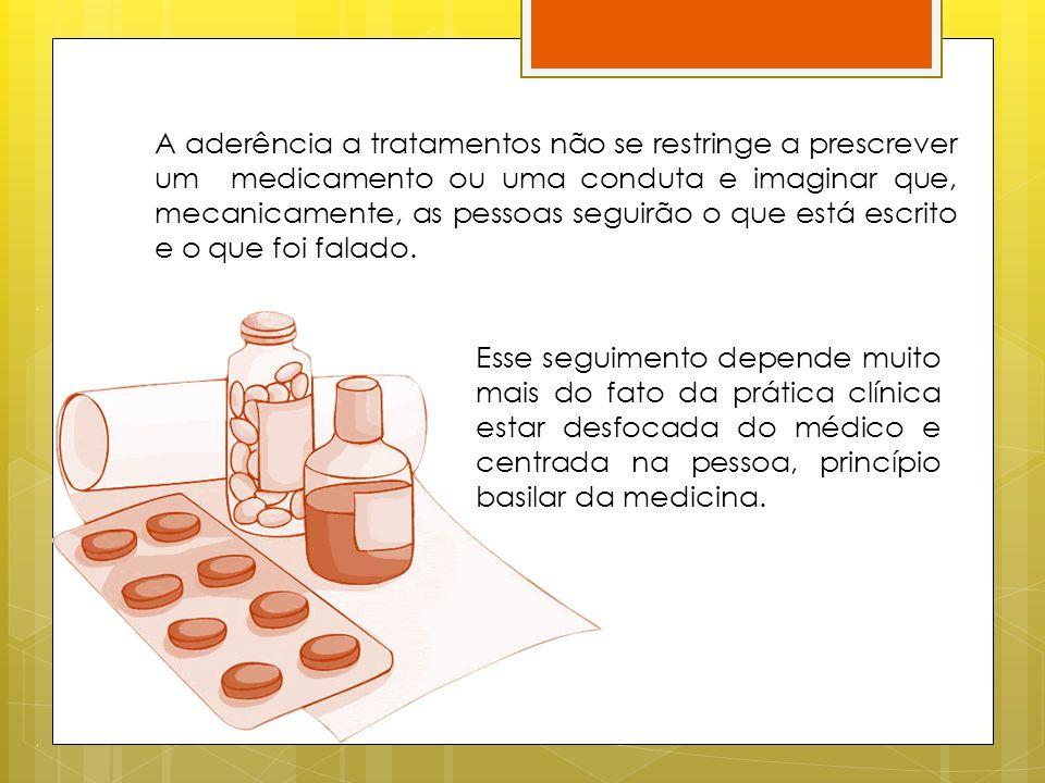 A aderência a tratamentos não se restringe a prescrever um medicamento ou uma conduta e imaginar que, mecanicamente, as pessoas seguirão o que está escrito e o que foi falado.