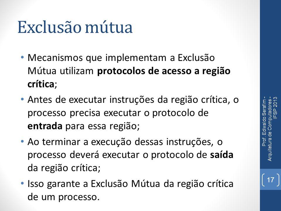 Exclusão mútua Mecanismos que implementam a Exclusão Mútua utilizam protocolos de acesso a região crítica;