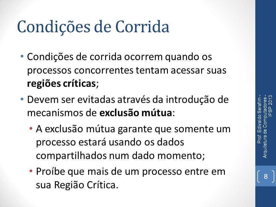 Condições de Corrida Condições de corrida ocorrem quando os processos concorrentes tentam acessar suas regiões críticas;