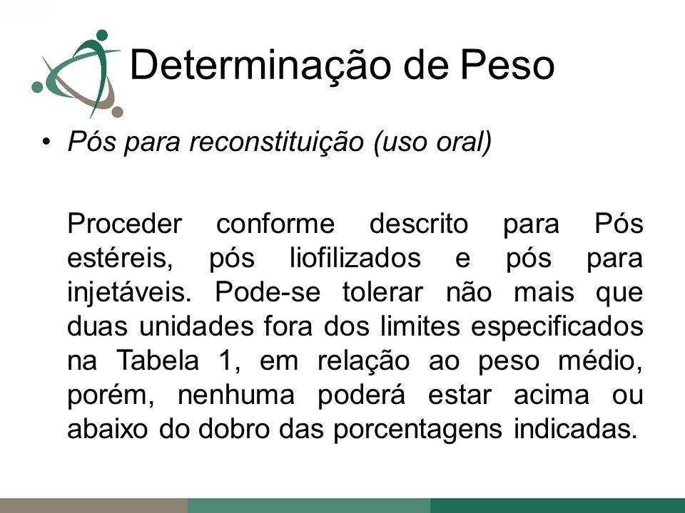Determinação de Peso Pós para reconstituição (uso oral)