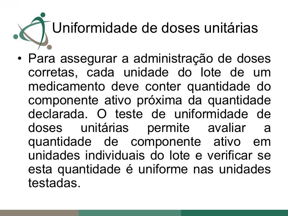 Uniformidade de doses unitárias