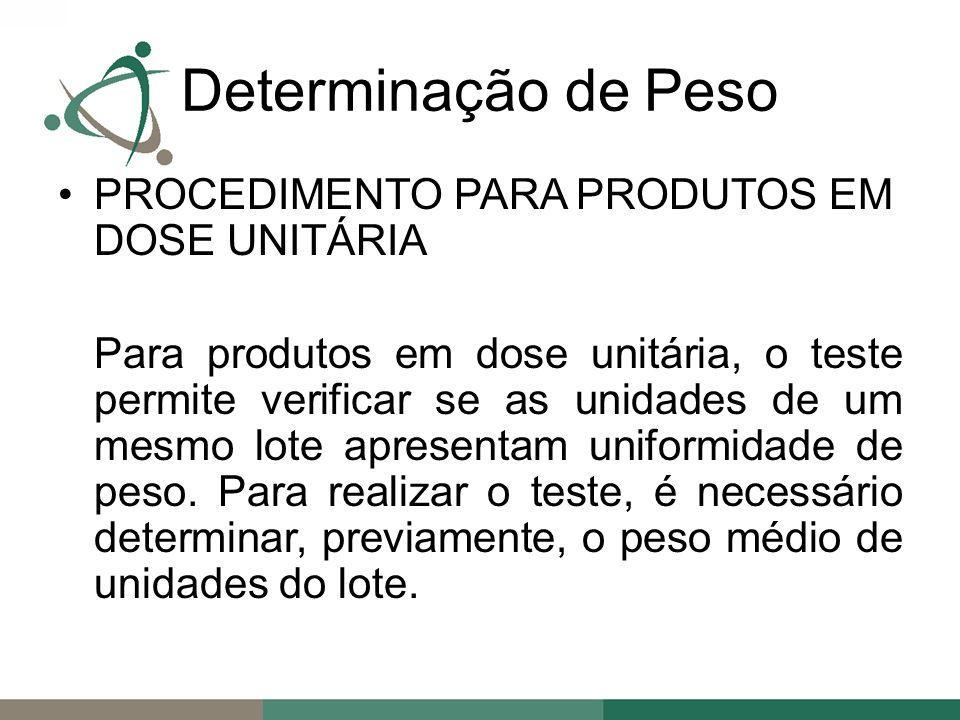 Determinação de Peso PROCEDIMENTO PARA PRODUTOS EM DOSE UNITÁRIA