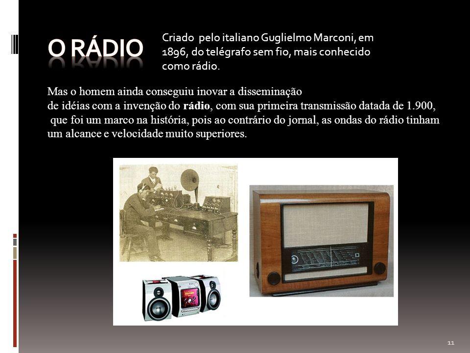 O rádio Criado pelo italiano Guglielmo Marconi, em 1896, do telégrafo sem fio, mais conhecido como rádio.