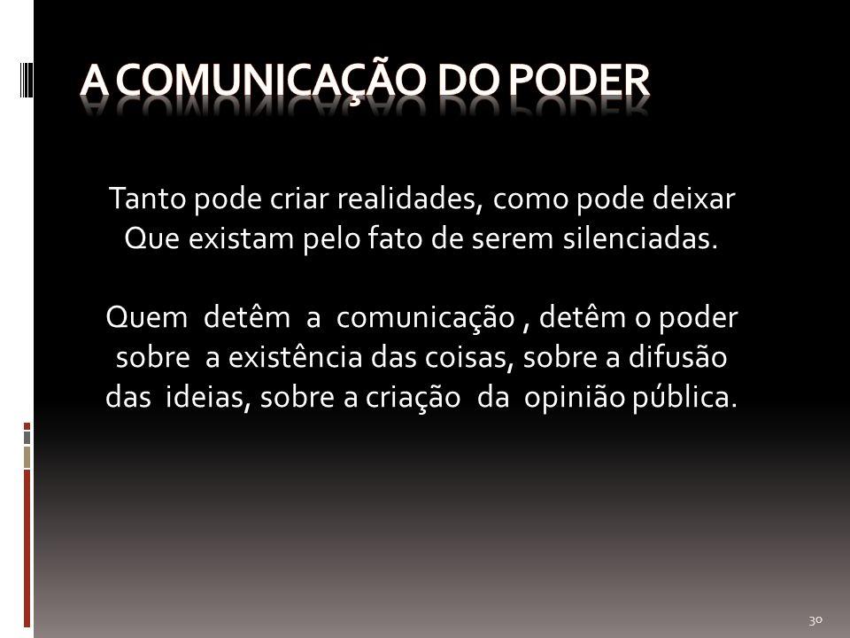 A comunicação do poder Tanto pode criar realidades, como pode deixar