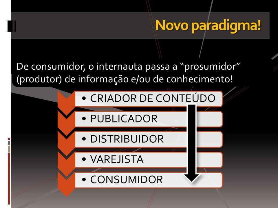Novo paradigma! De consumidor, o internauta passa a prosumidor (produtor) de informação e/ou de conhecimento!