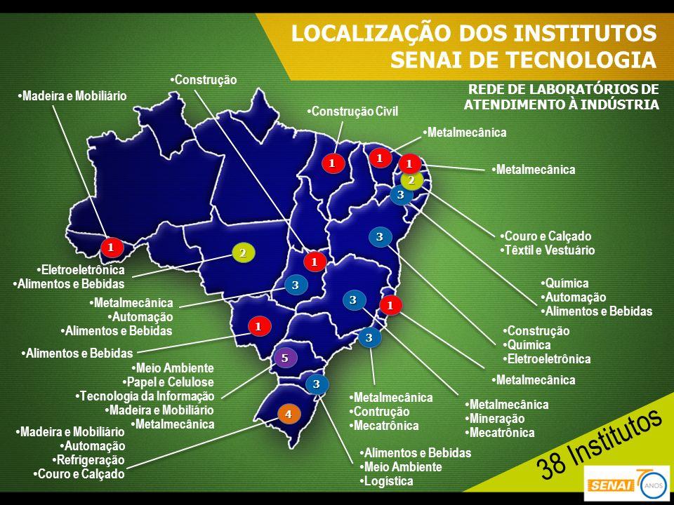 38 Institutos LOCALIZAÇÃO DOS INSTITUTOS SENAI DE TECNOLOGIA
