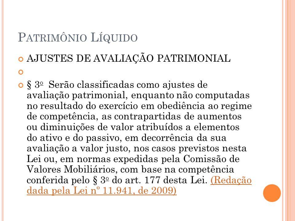 Patrimônio Líquido AJUSTES DE AVALIAÇÃO PATRIMONIAL