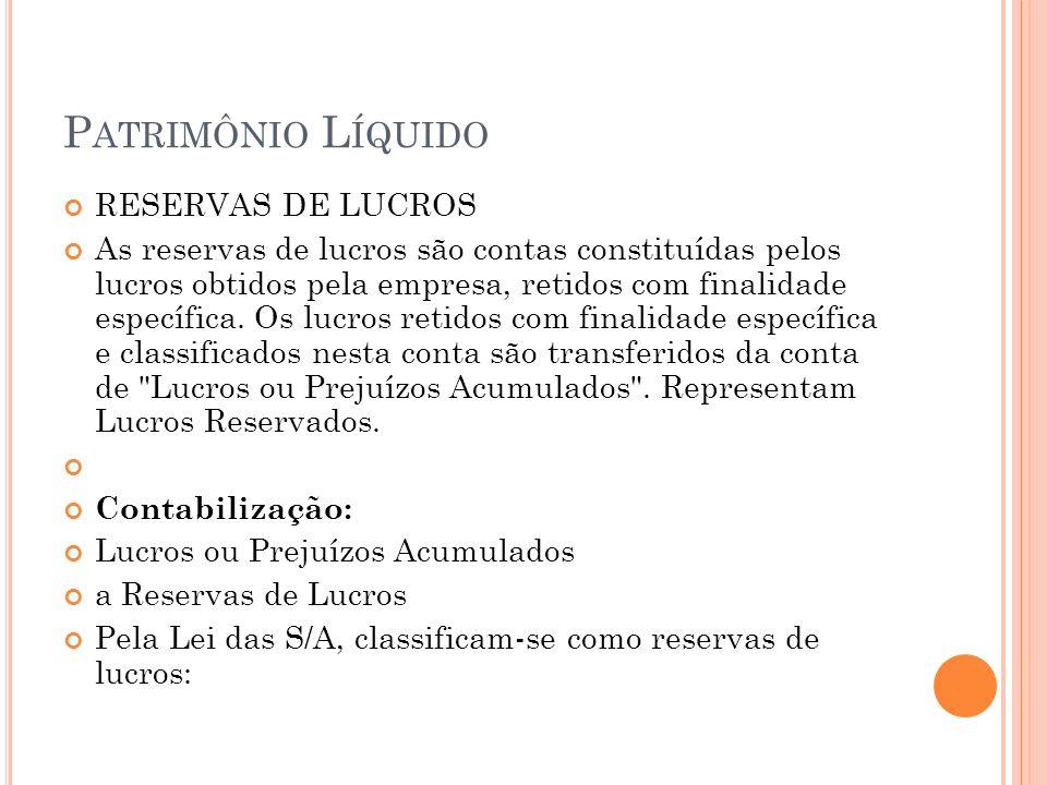 Patrimônio Líquido RESERVAS DE LUCROS