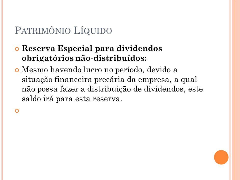 Patrimônio Líquido Reserva Especial para dividendos obrigatórios não-distribuídos: