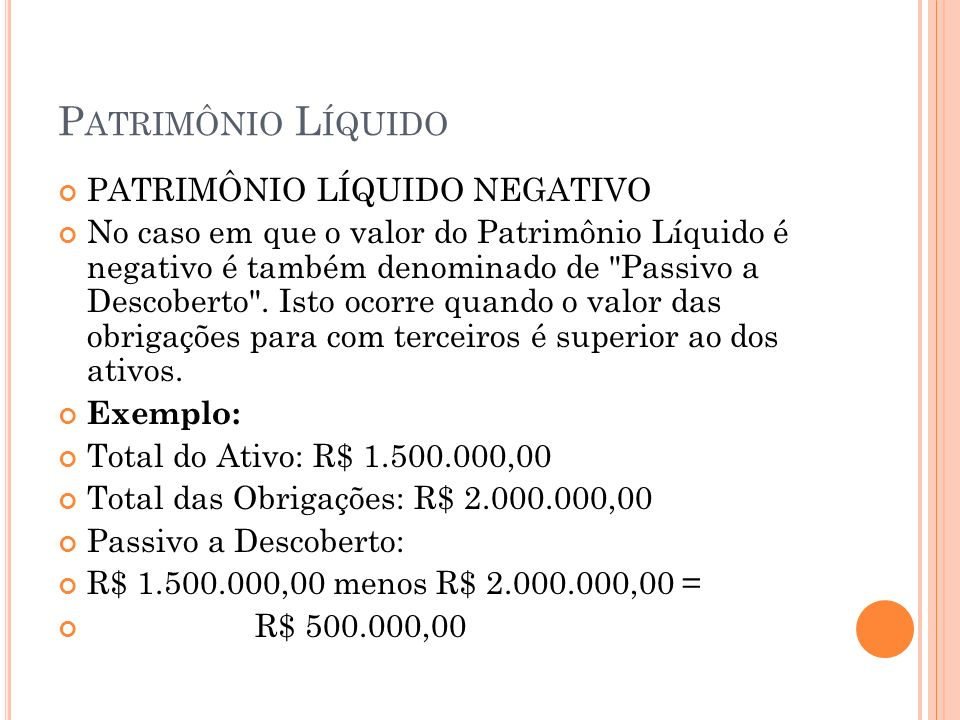 Patrimônio Líquido PATRIMÔNIO LÍQUIDO NEGATIVO