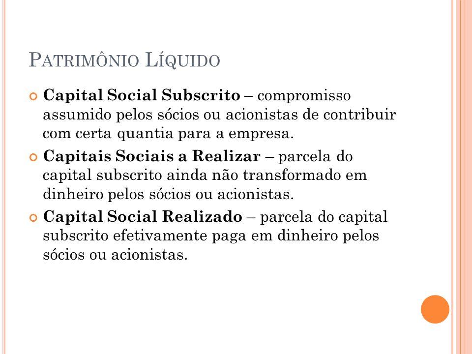 Patrimônio Líquido Capital Social Subscrito – compromisso assumido pelos sócios ou acionistas de contribuir com certa quantia para a empresa.