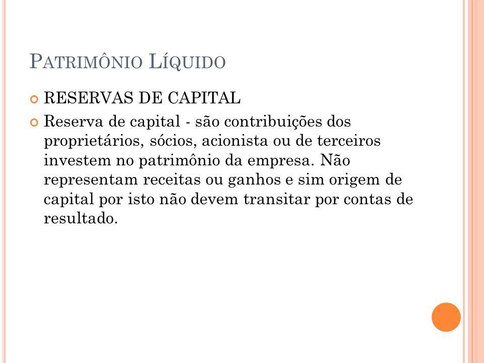 Patrimônio Líquido RESERVAS DE CAPITAL