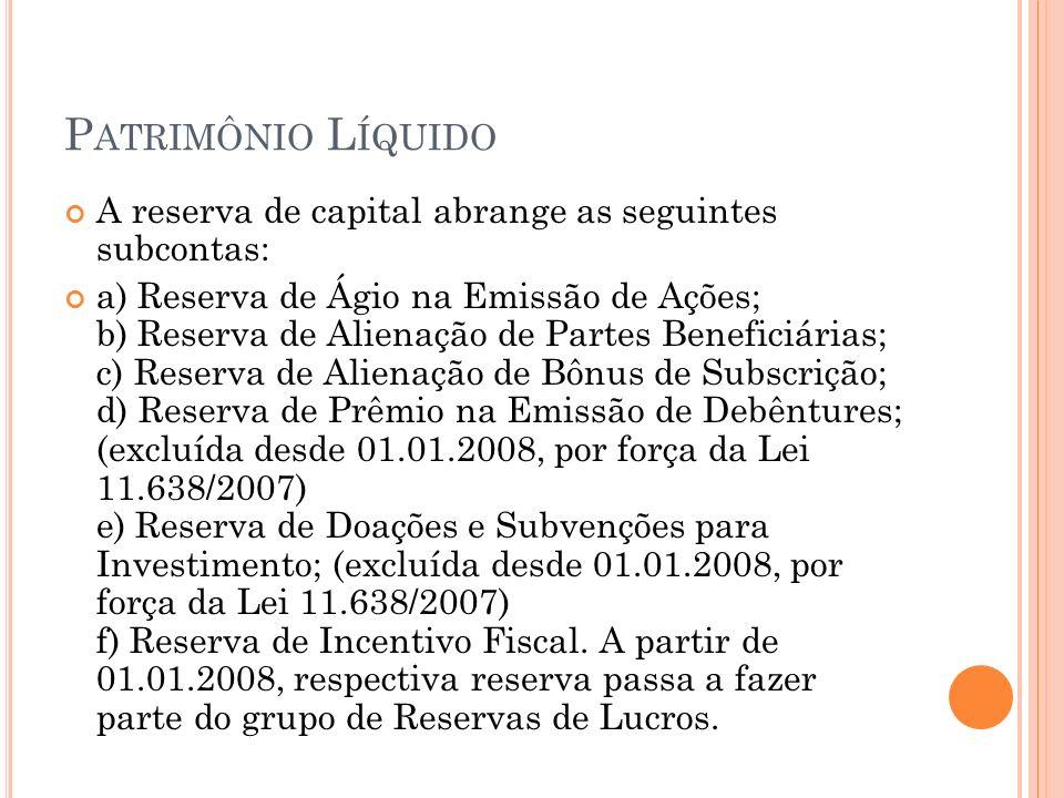 Patrimônio Líquido A reserva de capital abrange as seguintes subcontas:
