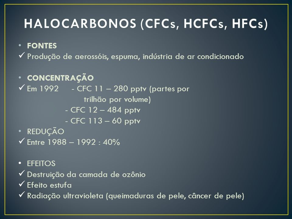HALOCARBONOS (CFCs, HCFCs, HFCs)