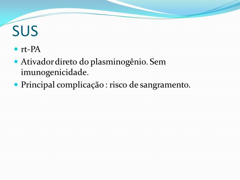 SUS rt-PA Ativador direto do plasminogênio. Sem imunogenicidade.