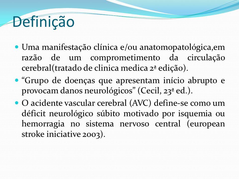 Definição Uma manifestação clínica e/ou anatomopatológica,em razão de um comprometimento da circulação cerebral(tratado de clinica medica 2ª edição).