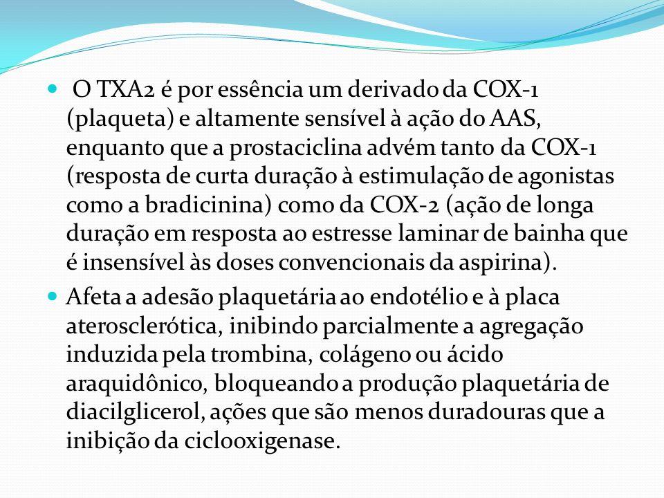 O TXA2 é por essência um derivado da COX-1 (plaqueta) e altamente sensível à ação do AAS, enquanto que a prostaciclina advém tanto da COX-1 (resposta de curta duração à estimulação de agonistas como a bradicinina) como da COX-2 (ação de longa duração em resposta ao estresse laminar de bainha que é insensível às doses convencionais da aspirina).