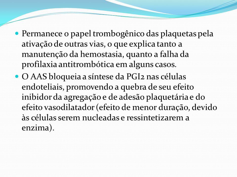 Permanece o papel trombogênico das plaquetas pela ativação de outras vias, o que explica tanto a manutenção da hemostasia, quanto a falha da profilaxia antitrombótica em alguns casos.
