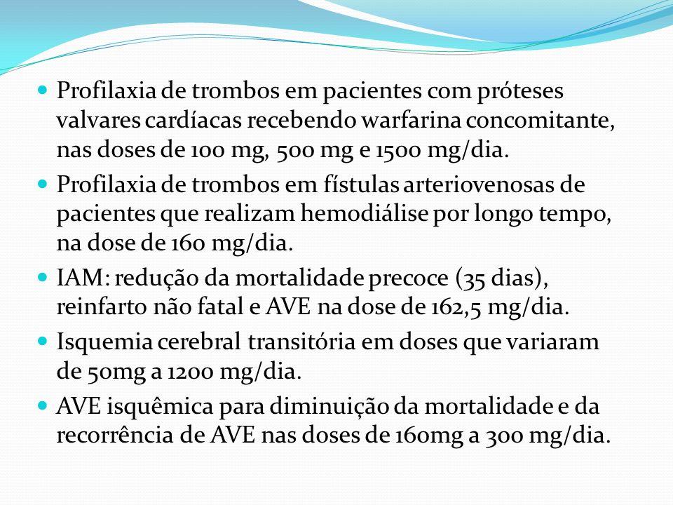 Profilaxia de trombos em pacientes com próteses valvares cardíacas recebendo warfarina concomitante, nas doses de 100 mg, 500 mg e 1500 mg/dia.