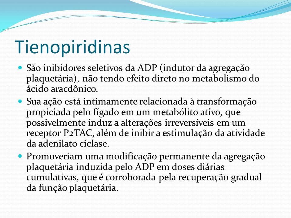 Tienopiridinas São inibidores seletivos da ADP (indutor da agregação plaquetária), não tendo efeito direto no metabolismo do ácido aracdônico.
