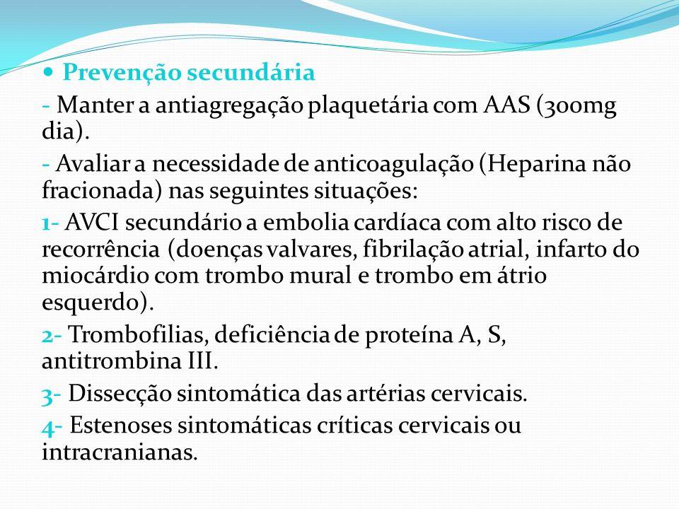 Prevenção secundária - Manter a antiagregação plaquetária com AAS (300mg dia).