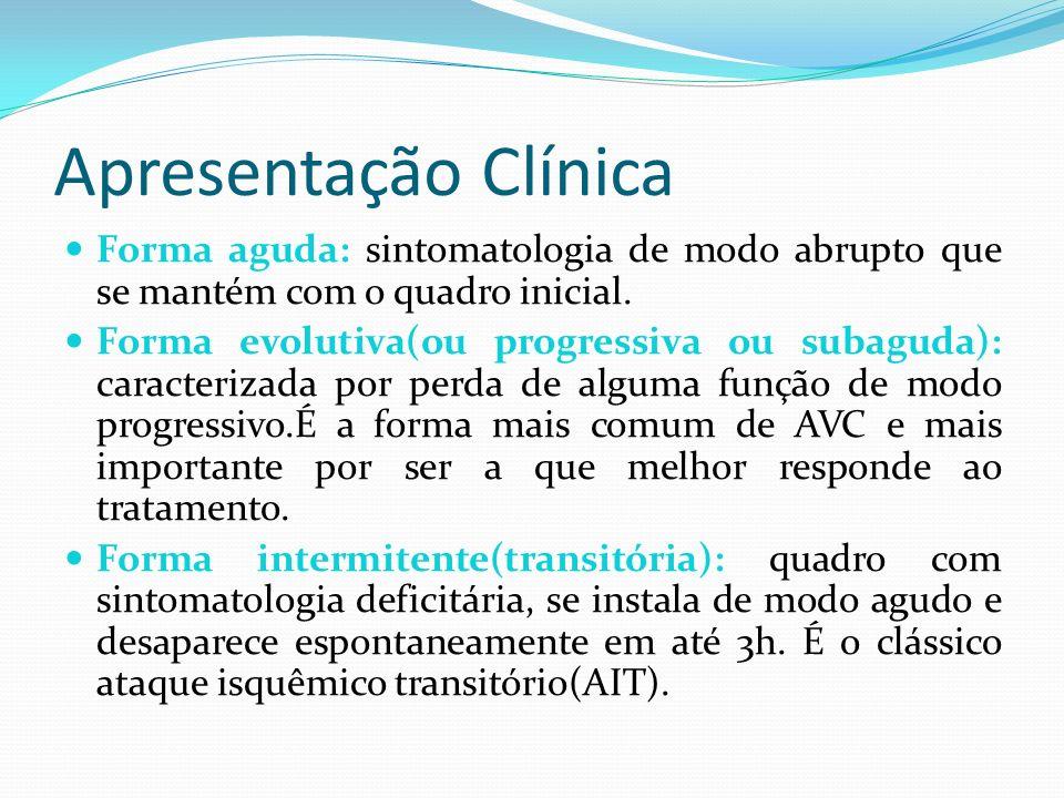 Apresentação Clínica Forma aguda: sintomatologia de modo abrupto que se mantém com o quadro inicial.