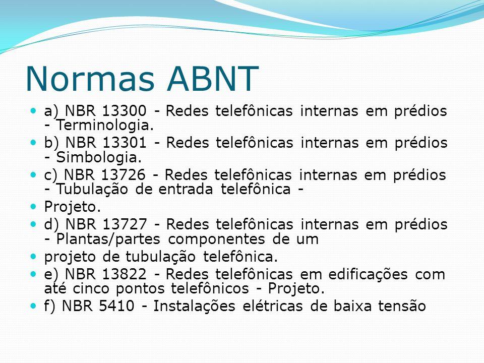Normas ABNT a) NBR 13300 - Redes telefônicas internas em prédios - Terminologia. b) NBR 13301 - Redes telefônicas internas em prédios - Simbologia.