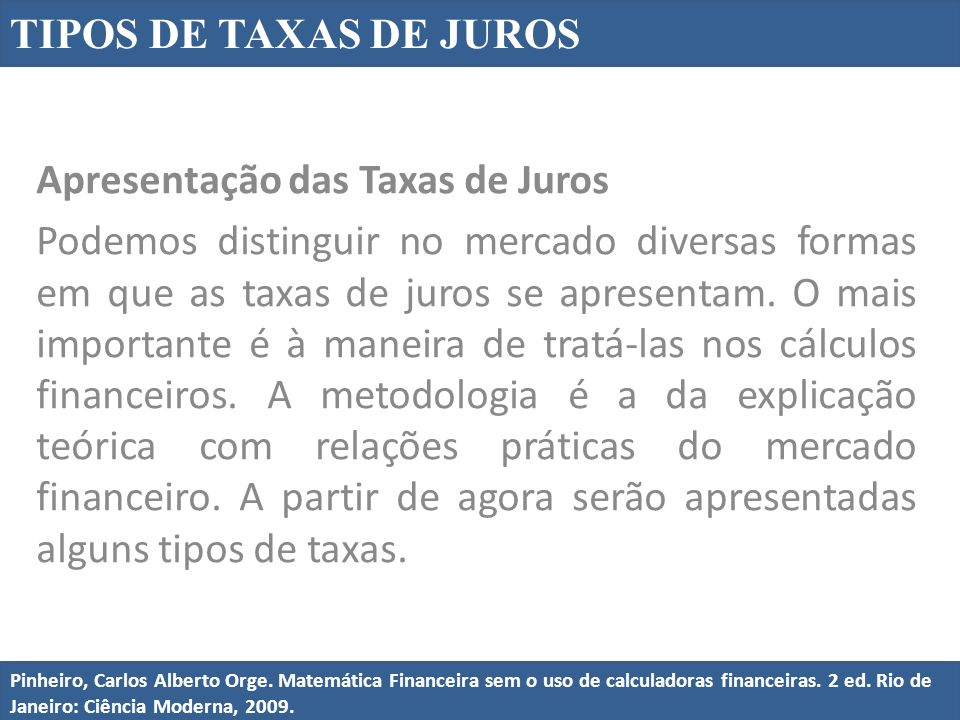 Apresentação das Taxas de Juros