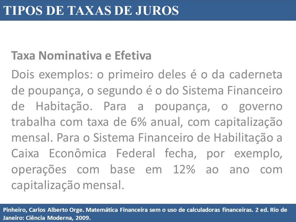 Taxa Nominativa e Efetiva