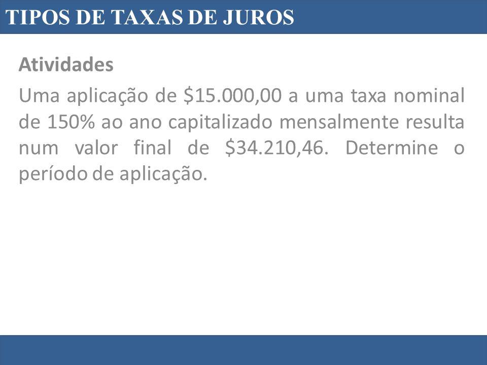 TIPOS DE TAXAS DE JUROS Atividades.