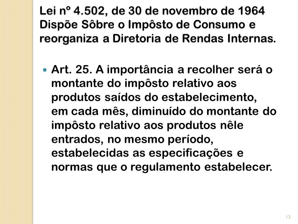 Lei nº 4.502, de 30 de novembro de 1964 Dispõe Sôbre o Impôsto de Consumo e reorganiza a Diretoria de Rendas Internas.