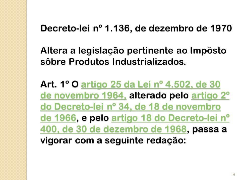 Decreto-lei nº 1.136, de dezembro de 1970 Altera a legislação pertinente ao Impôsto sôbre Produtos Industrializados.