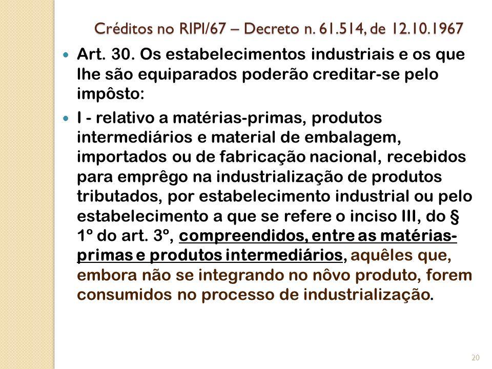 Créditos no RIPI/67 – Decreto n. 61.514, de 12.10.1967