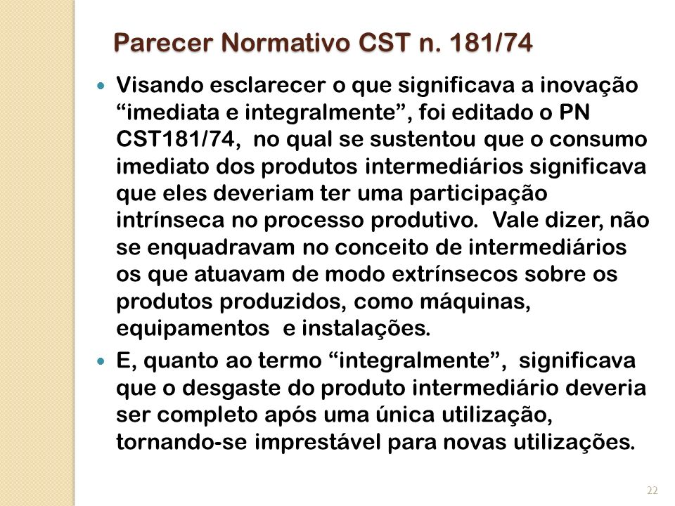 Parecer Normativo CST n. 181/74