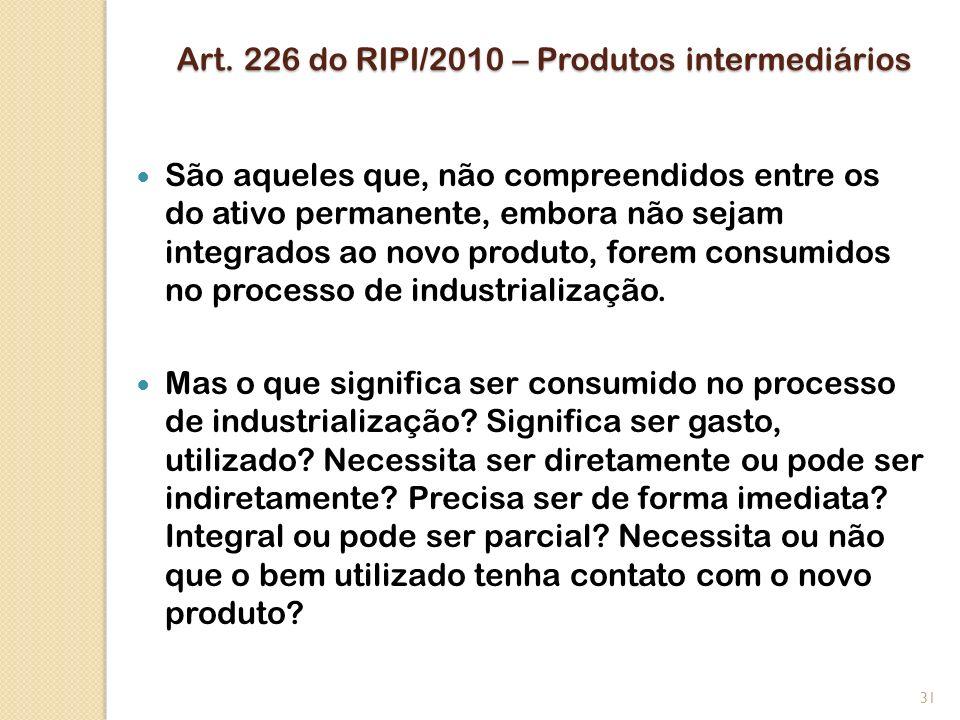 Art. 226 do RIPI/2010 – Produtos intermediários