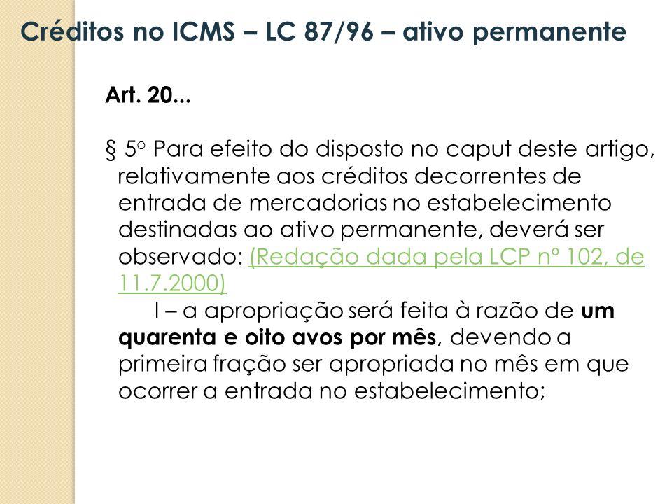 Créditos no ICMS – LC 87/96 – ativo permanente