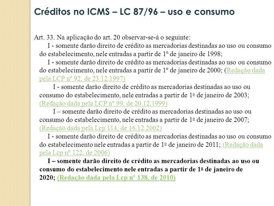 Créditos no ICMS – LC 87/96 – uso e consumo