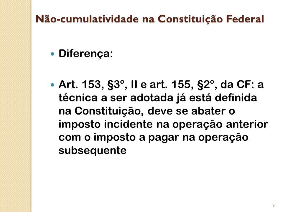 Não-cumulatividade na Constituição Federal