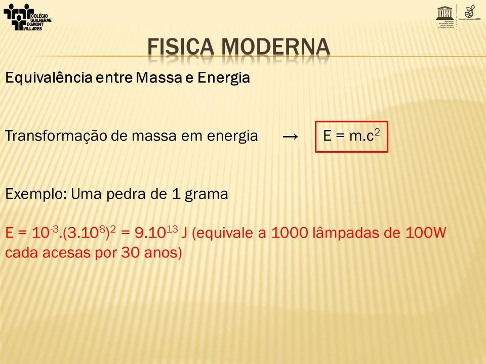 FISICA MODERNA Equivalência entre Massa e Energia